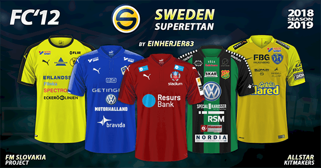 Football Manager 2019 Kits - FC'12 Sweden – Superettan 2018