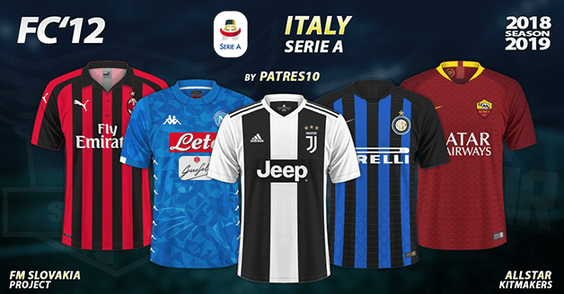 9c5e5db1017 Football Manager 2019 Kits - FC 12 Italy – Serie A 2018 19