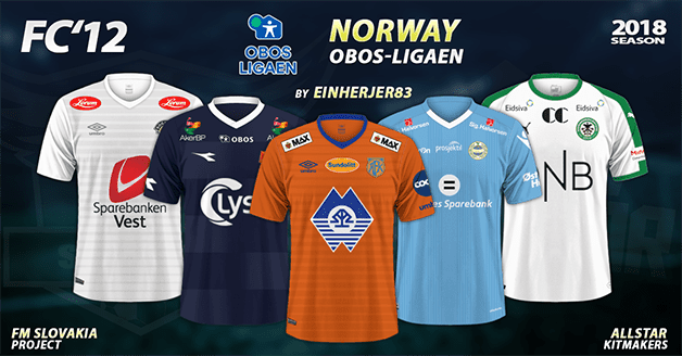 Football Manager 2019 Kits - FC'12 Norway – OBOS-ligaen 2018