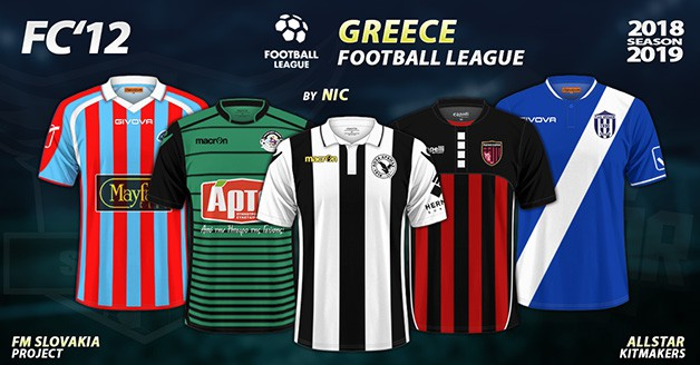 Football Manager 2019 Kits - FC'12 – Greece – Football League 2018/19