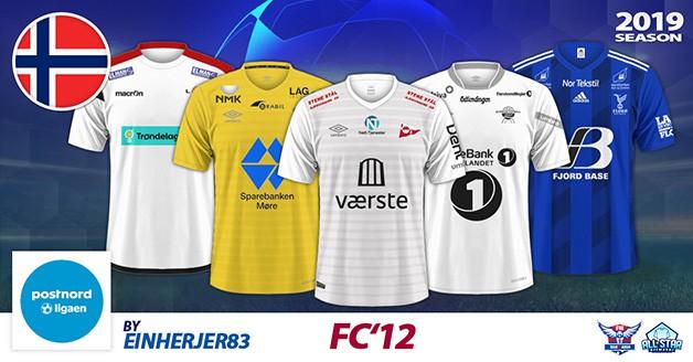 Football Manager 2019 Kits - FC'12 Norway – PostNord-Ligaen 2019