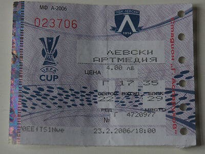 Ticket for collectors EC Levski Sofia Artmedia Bratislava
