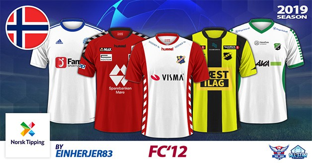 Football Manager 2019 Kits - FC'12 Norway – NorskTipping-Ligaen 2019